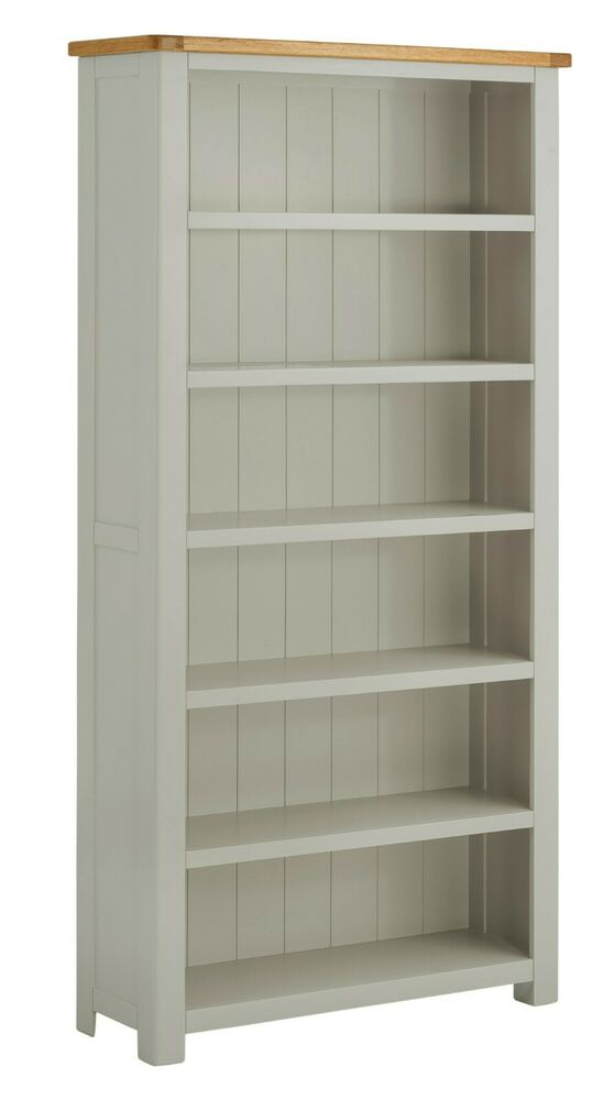 Padstow Grey Painted Large Oak Bookcase Solid Wood