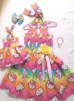 New Handmade Hello Kitty Dress Toddler/Girls (2T - 7/8)  Doll Dress, Hair Bow