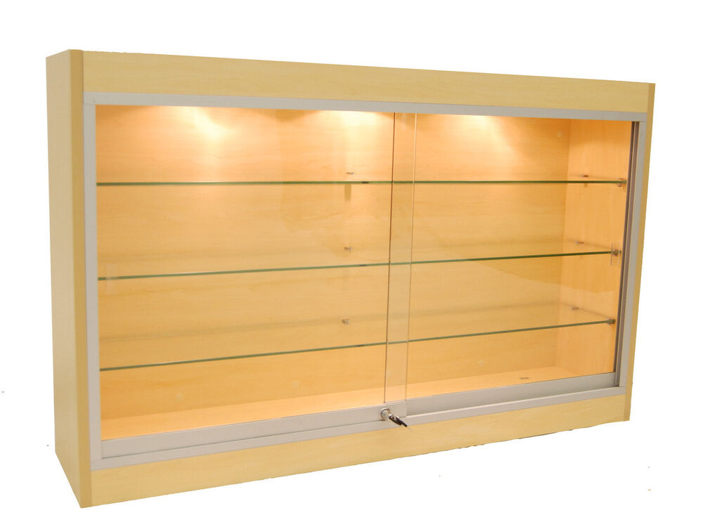 economy wall mount glass display case showcase maple 48 new york pickup only ebay. Black Bedroom Furniture Sets. Home Design Ideas