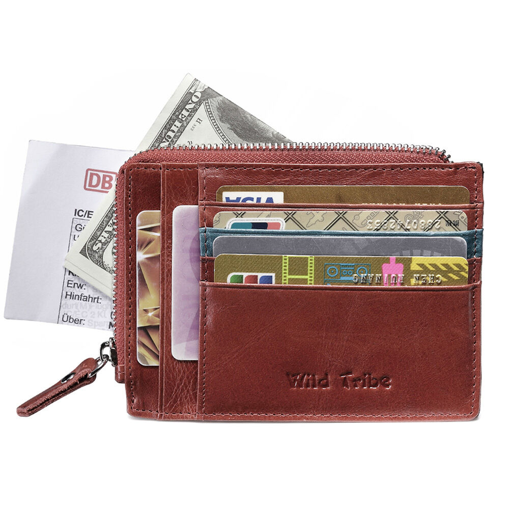 Lady Genuine Oily Leather Coin Pocket Purse Small Wallet ...