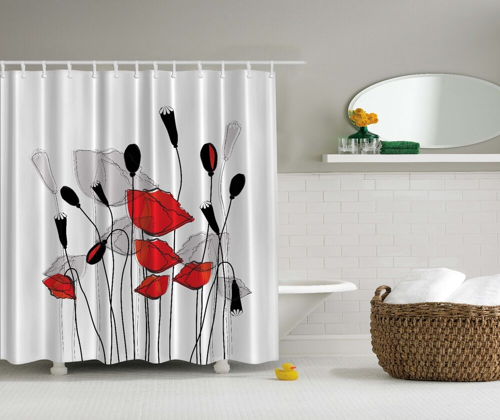 Red gray black flowers floral fabric shower curtain for Red and gray bathroom sets