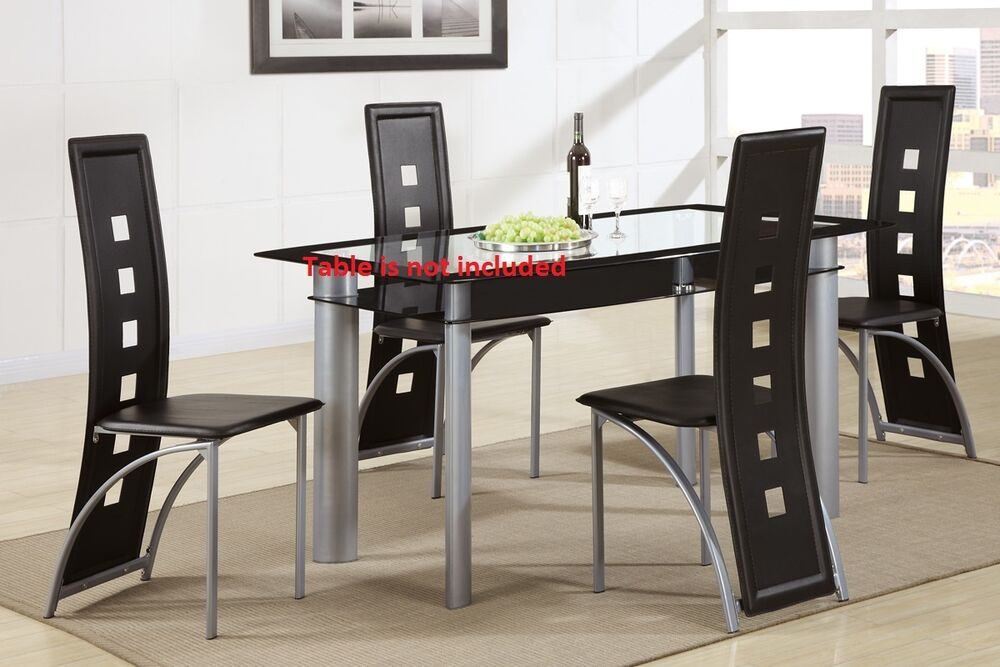 Dining room black silver finish chairs 4 piece set modern for 4 piece dining room set