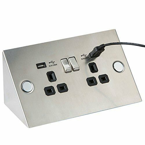 Double Socket With Usb Angled Under Cupboard Cabinet 13a