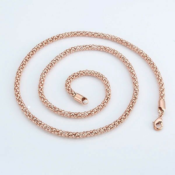 Mens/Women's Necklace 18k Rose Gold Filled Charm Chain 24 ...