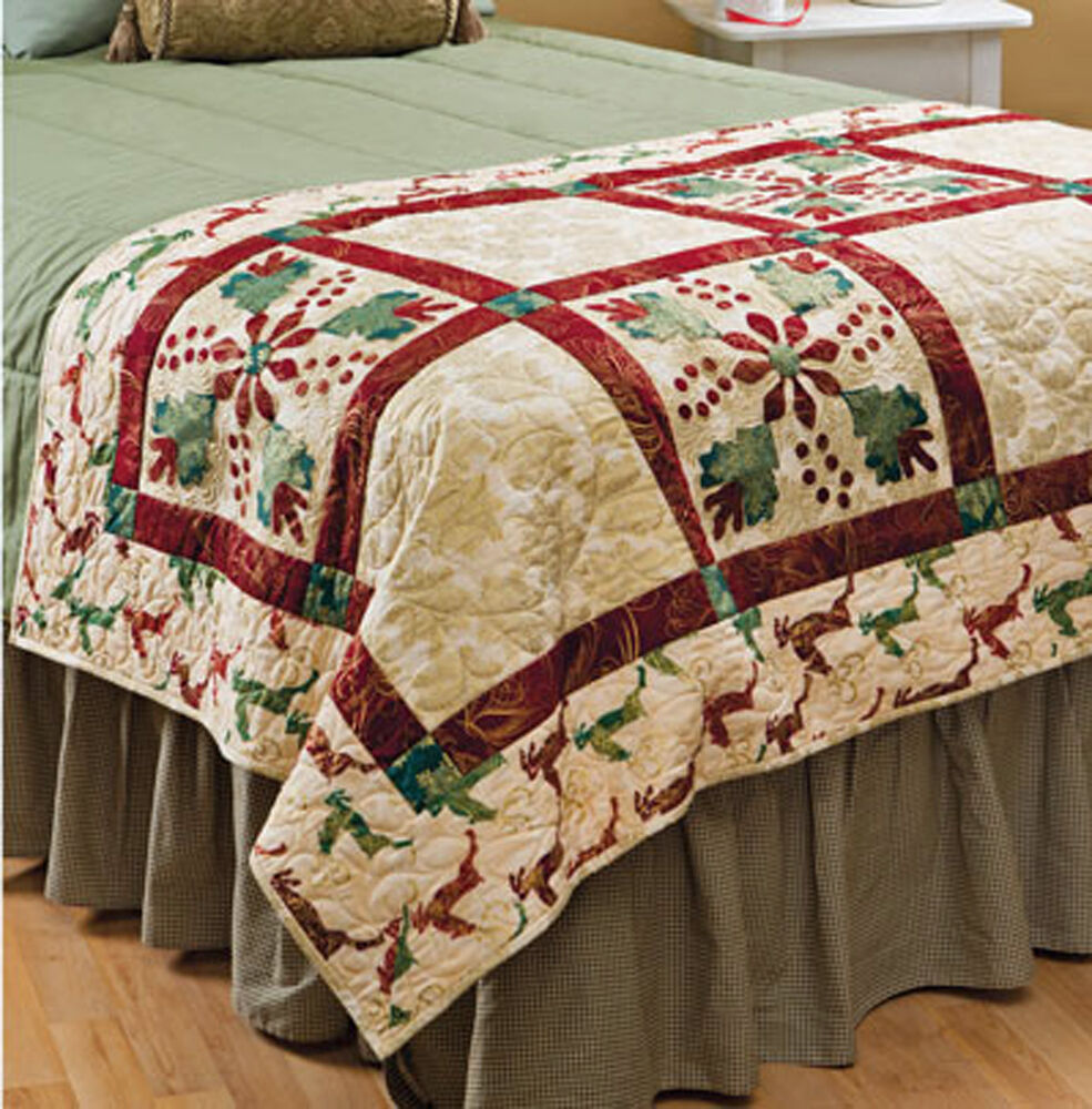 Christmas bed runner more holiday patchwork designs for Bed quilting designs