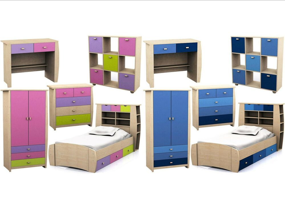 Childrens pink or blue bedroom furniture bed wardrobe - Childrens small bedroom furniture solutions ...