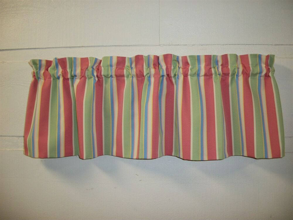 Stripe Blue Green And White: P Kaufmann Fabric Topper Pink Green Off White Blue Yellow