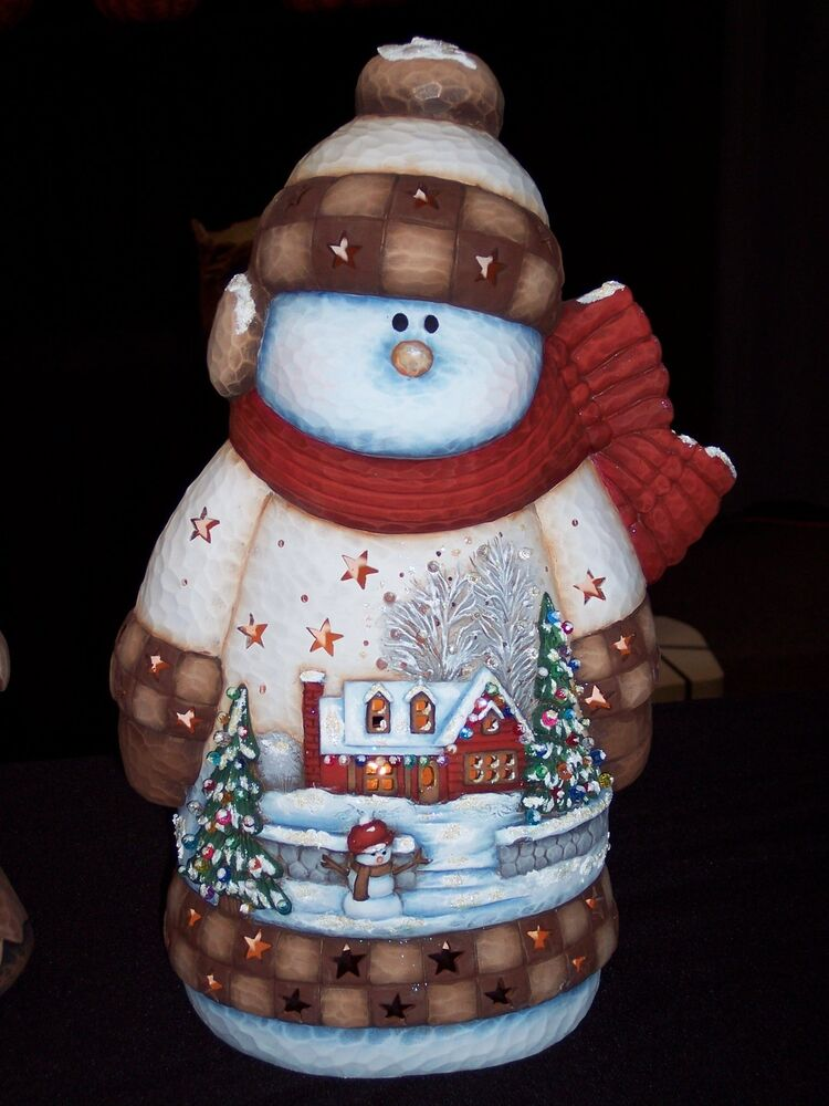 Ceramic Bisque Ready To Paint Large House Scene Snowman