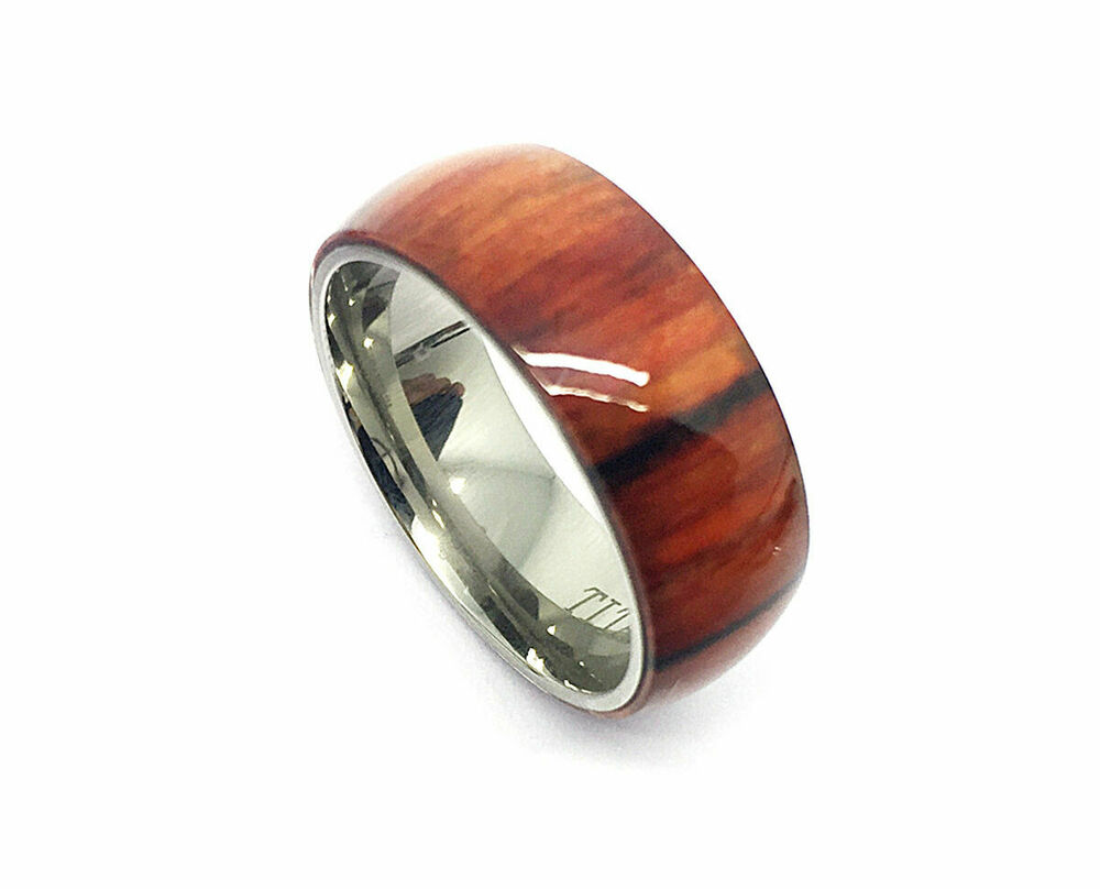 8mm Men's or Ladies Titanium w. Pure Cherry Hawaiian Koa ...