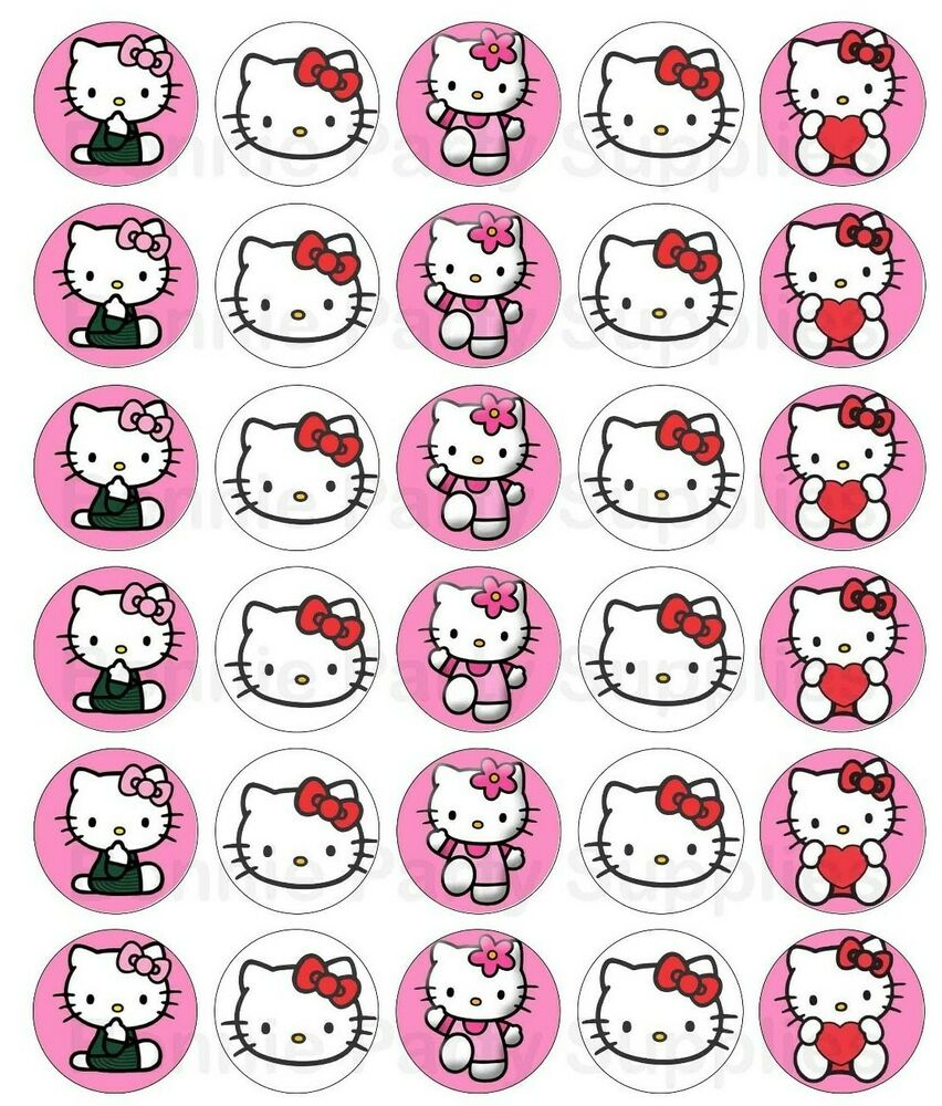 30 x Hello Kitty Edible Cupcake Toppers | eBay