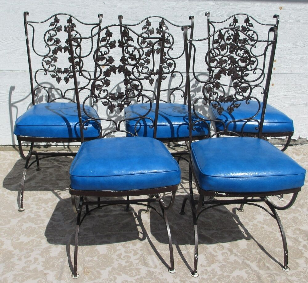 Vintage mid century modern patio wrought iron chairs with for Modern table and chairs