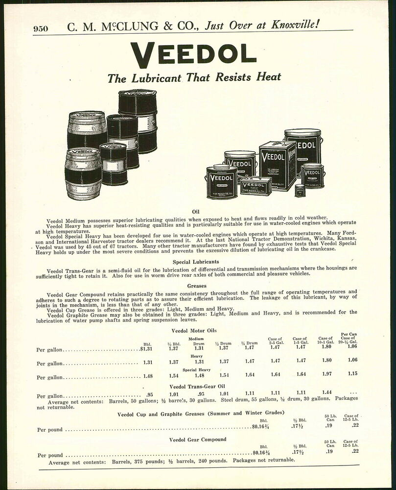 1921 advert veedol motor oil can drums cans pyrene for Motor oil by the drum