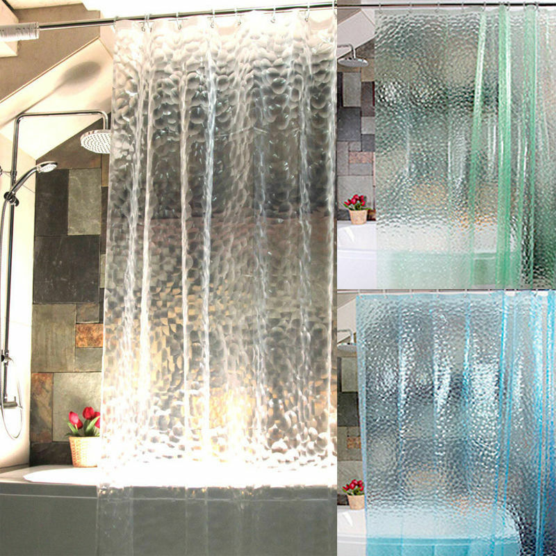 3d transparent wasser wannenvorhang duschvorhang badvorhang vorhang dusche wei ebay. Black Bedroom Furniture Sets. Home Design Ideas