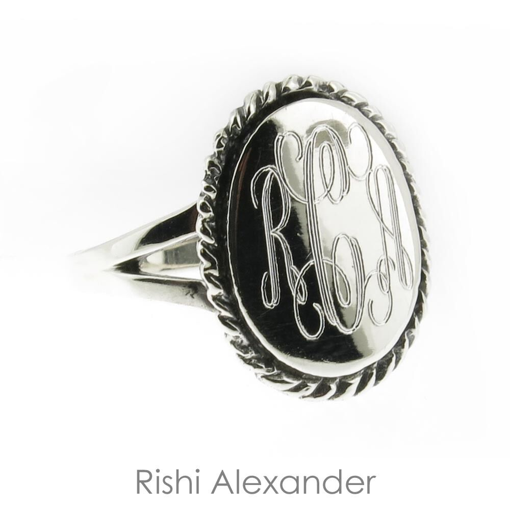 925 sterling silver monogram engravable oval with thick. Black Bedroom Furniture Sets. Home Design Ideas