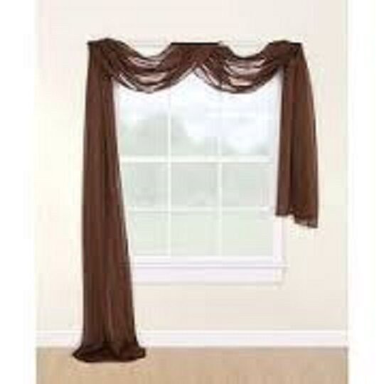 2 Coffee Brown Scarf Sheer Voile Window Treatment Curtain