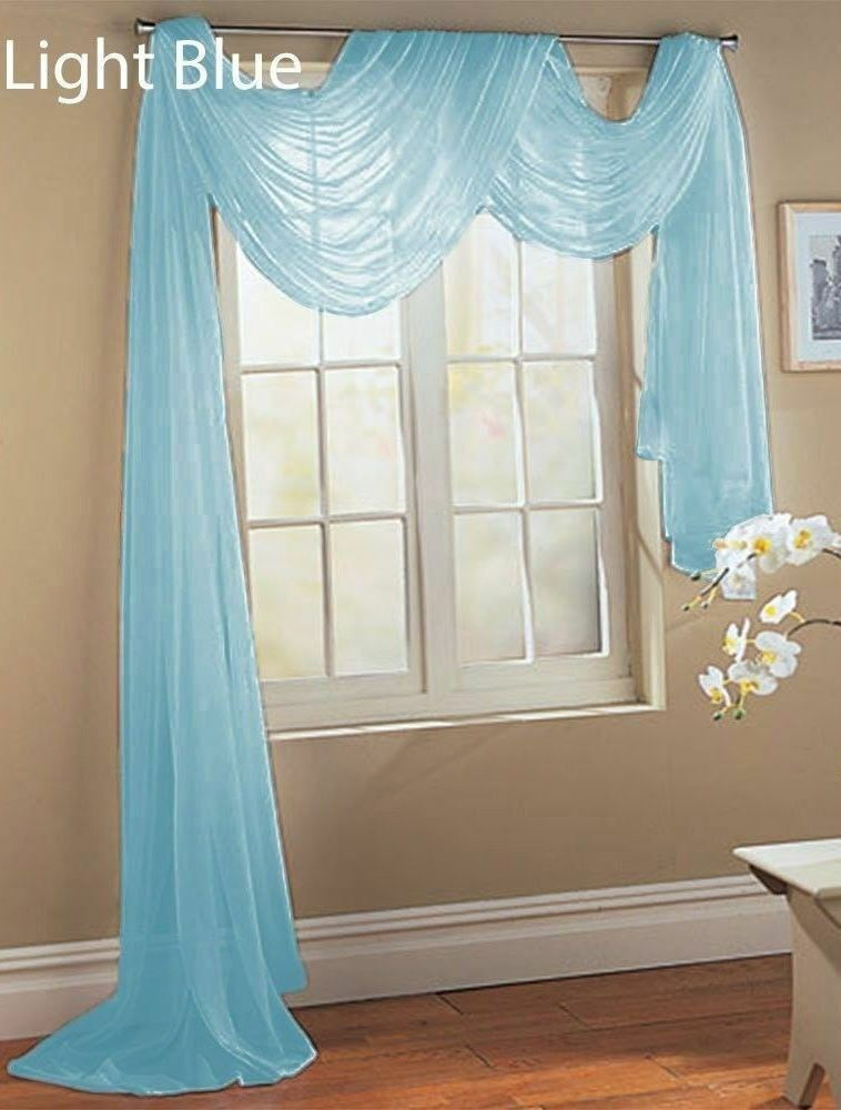 2 light blue scarf sheer voile window treatment curtain. Black Bedroom Furniture Sets. Home Design Ideas