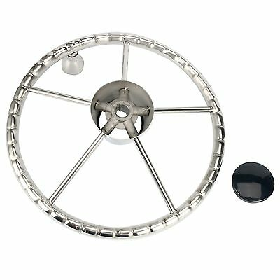 5 spoke Destroyer Style Stainless Boat Steering Wheel with Knob Stainless 13.5