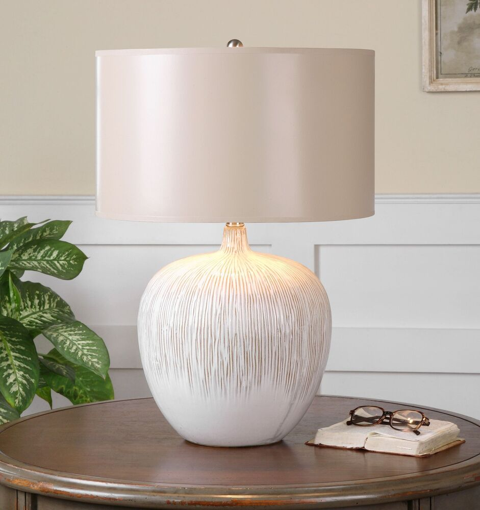 large textured ivory white table lamp contemporary ceramic ebay. Black Bedroom Furniture Sets. Home Design Ideas