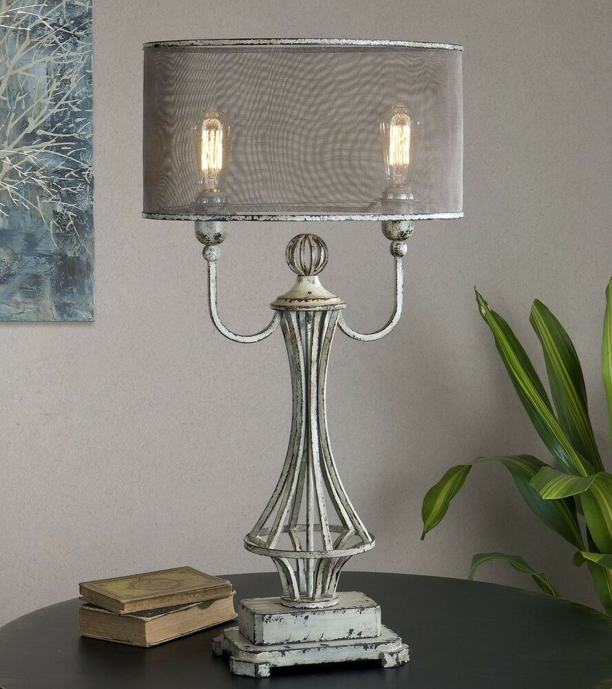 Country French Rustic Gray Table Lamp | Candlestick Screen ...