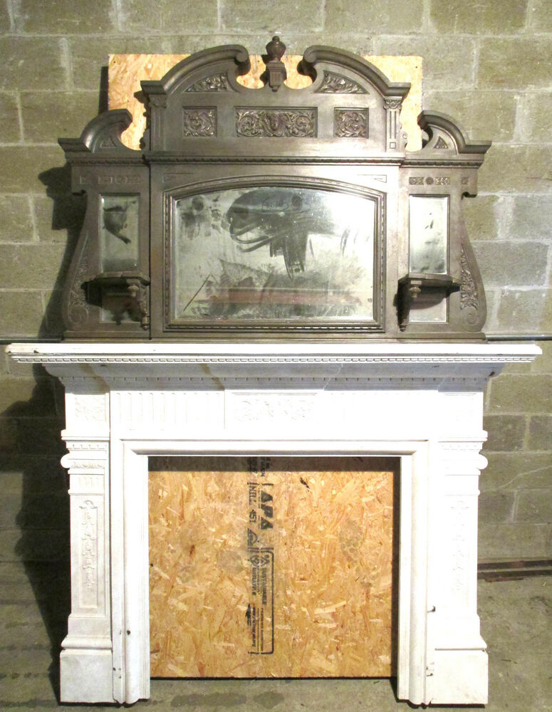 Tall Two Piece Antique Cast Iron Fireplace Mantel 8 Ft Architectural Salvage Ebay