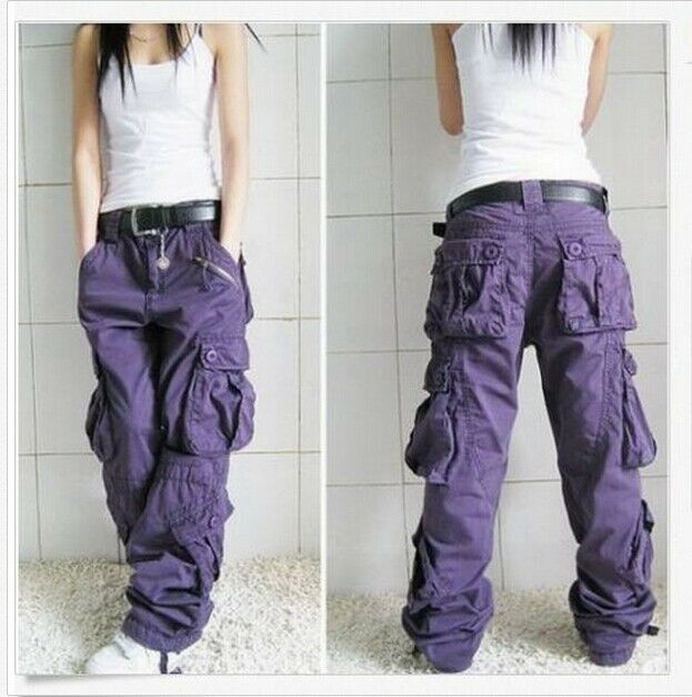 Wonderful NEW WOMENS LADIES CARGO WALKING COTTON BOYFRIEND WIDE TROUSERS POCKETS PANTS | EBay