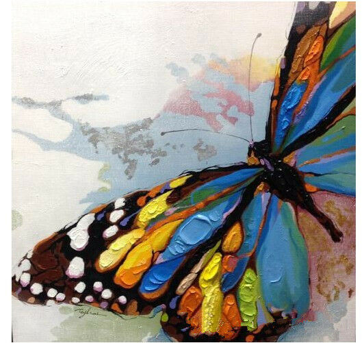 Hand-painted beautiful butterfly abstract canvas oil ...