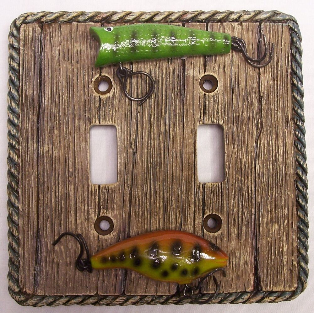Fishing Lure Double Light Switch Plate Rustic Cabin Home