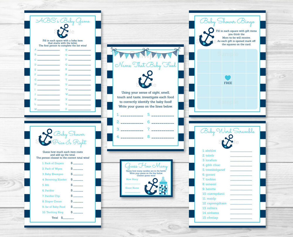 nautical anchor baby shower games pack 6 printable games ebay