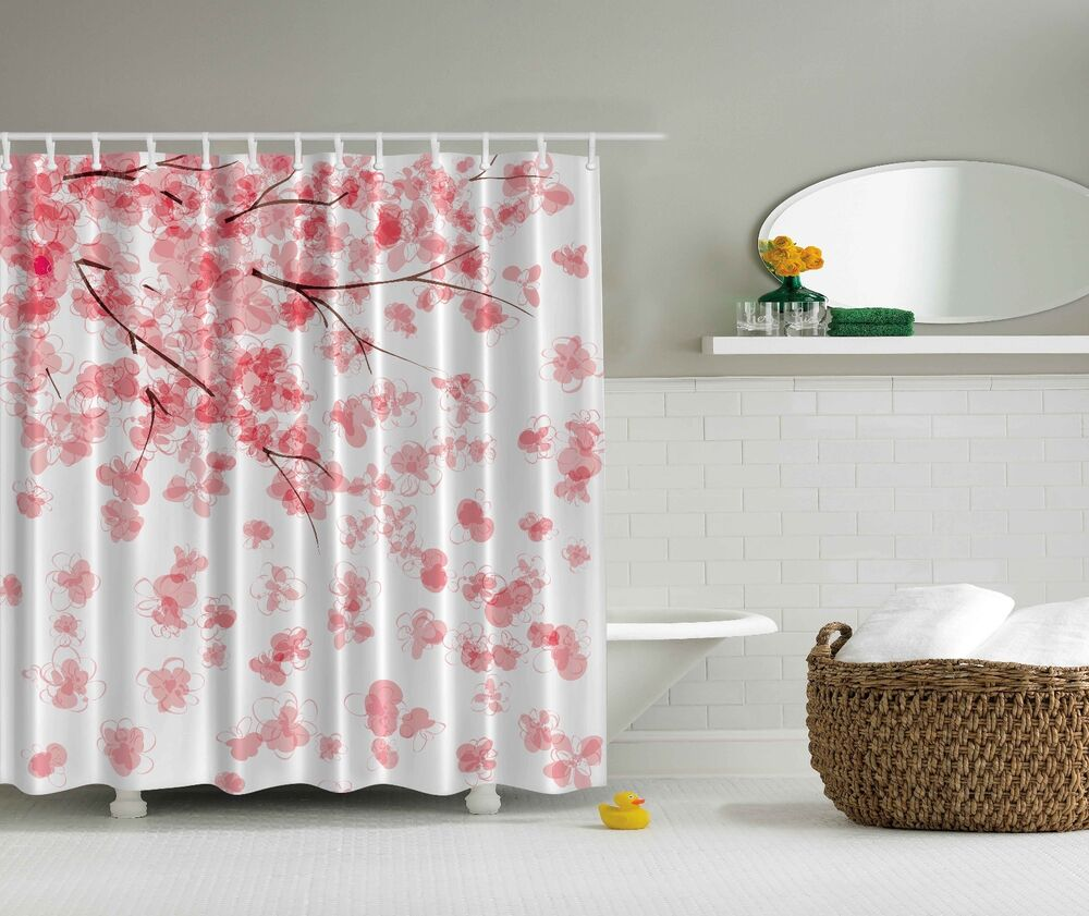 Pink Japanese Cherry Blossoms Flowers Fabric Shower
