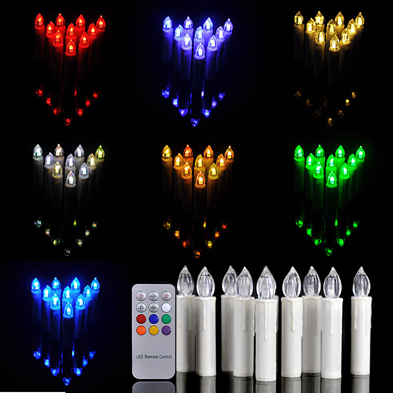 10pcs Led Flameless Flickering Christmas Tree Tear Candle
