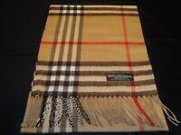 100% Cashmere Scarf Camel Beige Tan Big Check Plaid Made in Scotland Wool C11