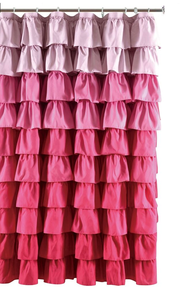 Ruffle Fabric Shower Curtain Color Multi Color Pink Ebay