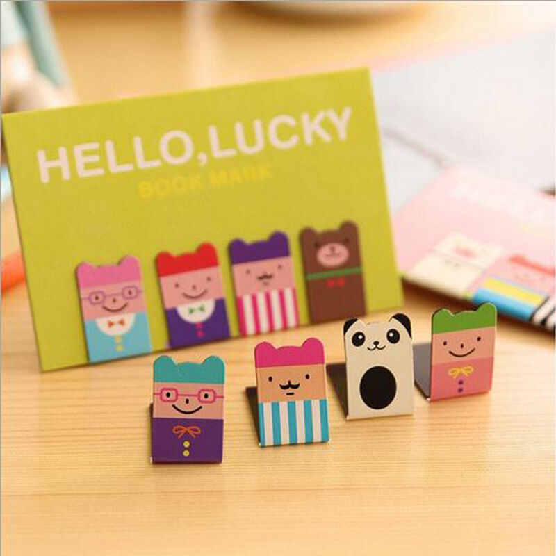 New 4Pcs Bookmarks Note Pad Memo Stationery Book Mark Novelty Funny Gift CF