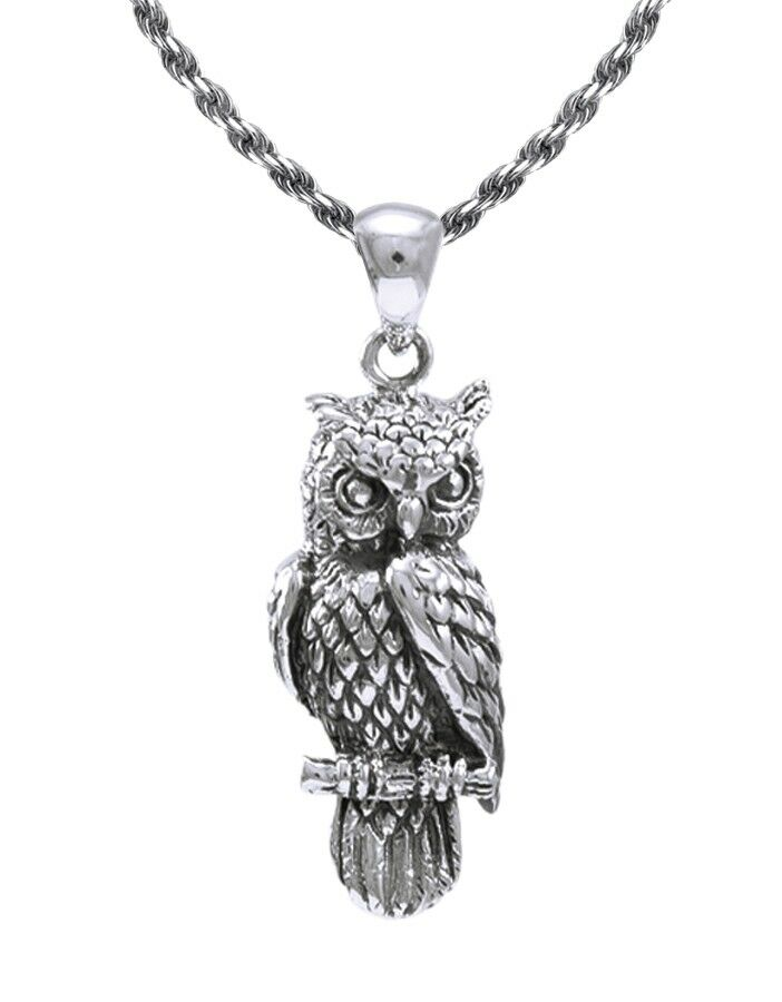 New 0 925 Sterling Silver Owl Bird Charm Animal Pendant