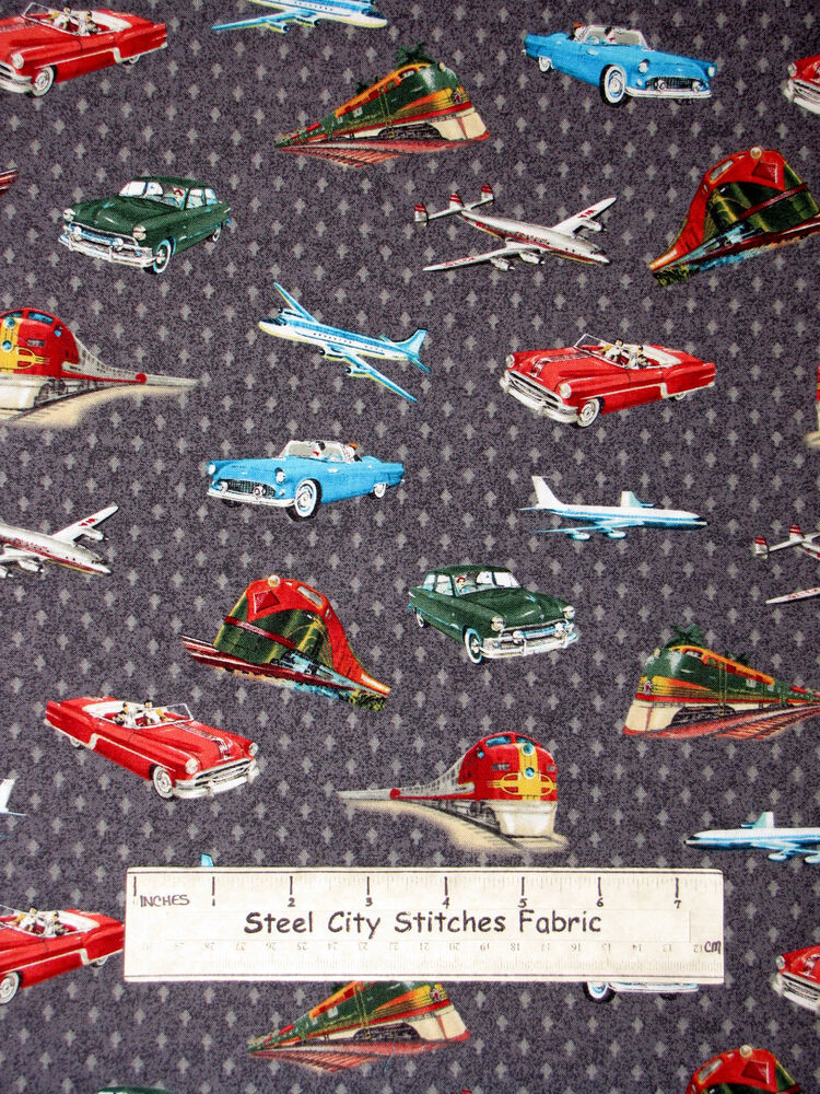 Vintage style planes trains automobiles gray cotton fabric for Train fabric by the yard