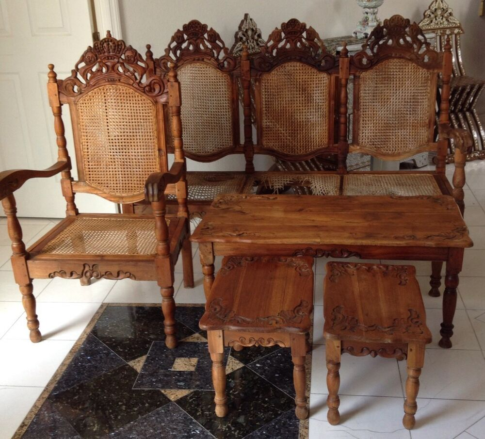 Beautiful carved wood living room furniture set with for Wooden chairs for living room