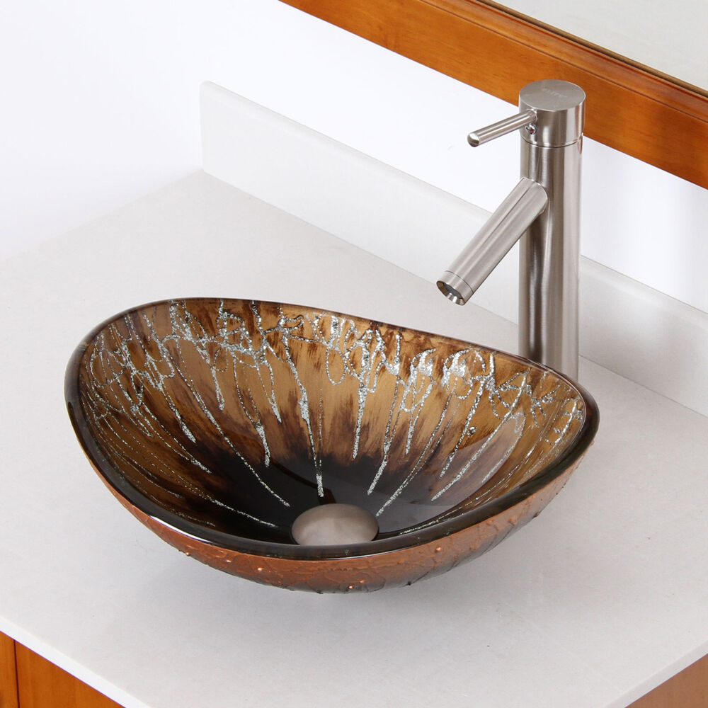Bathroom unique oval artistic glass vessel sink brushed nickel faucet combo ebay - Unique faucet designs for your home ...