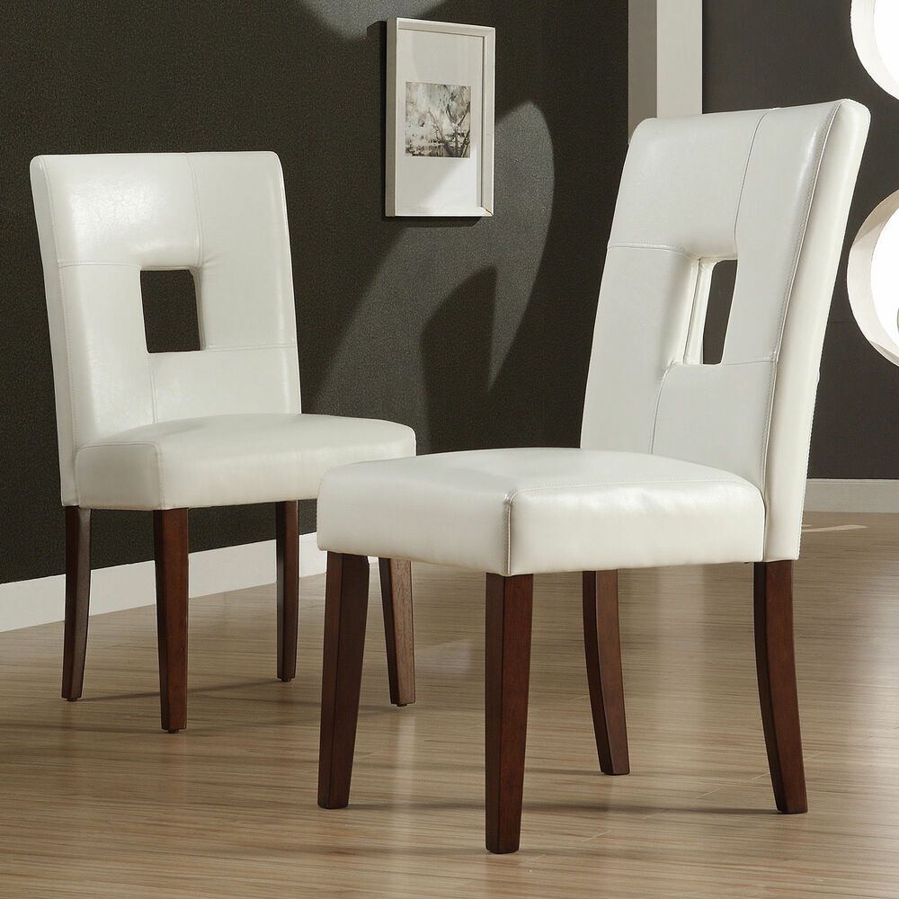 TRIBECCA HOME Alsace White Faux Leather Side Chairs (Set