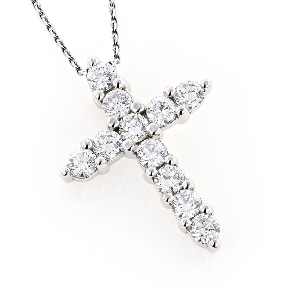 prong set round diamond cross pendant 14k white. Black Bedroom Furniture Sets. Home Design Ideas