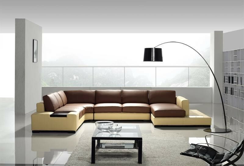 Modern brown yellow top grain leather sectional sofa for Drawing room farnichar
