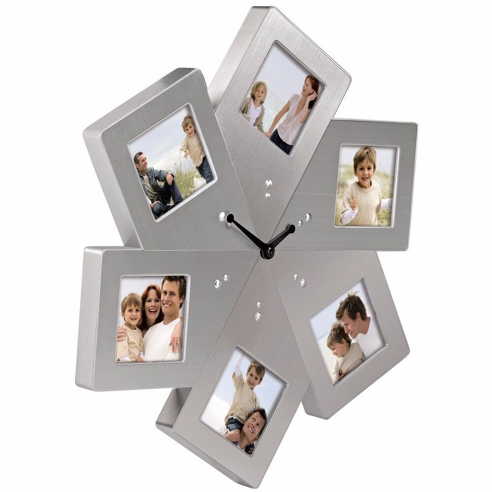 hama designer metall fotouhr wand uhr foto bilderuhr wanduhr mit bilderrahmen ebay. Black Bedroom Furniture Sets. Home Design Ideas