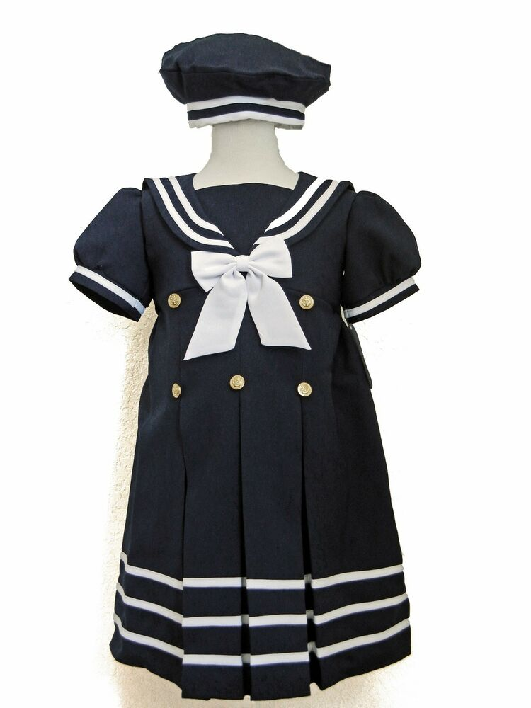 Baby Girl Toddler Formal Navy Blue Sailor Dress Outfit