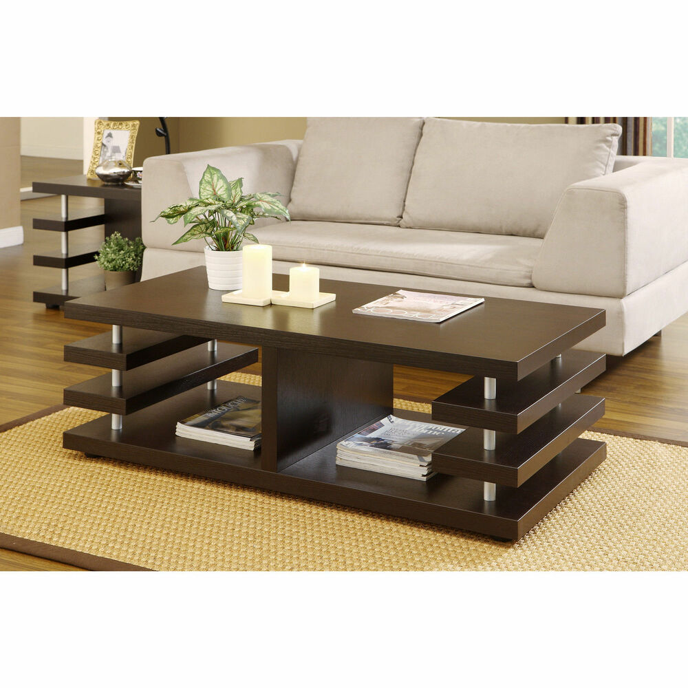 The Most Inspired Unique Contemporary Coffee Tables Ideas: Furniture Of America Architectural Inspired Dark Espresso