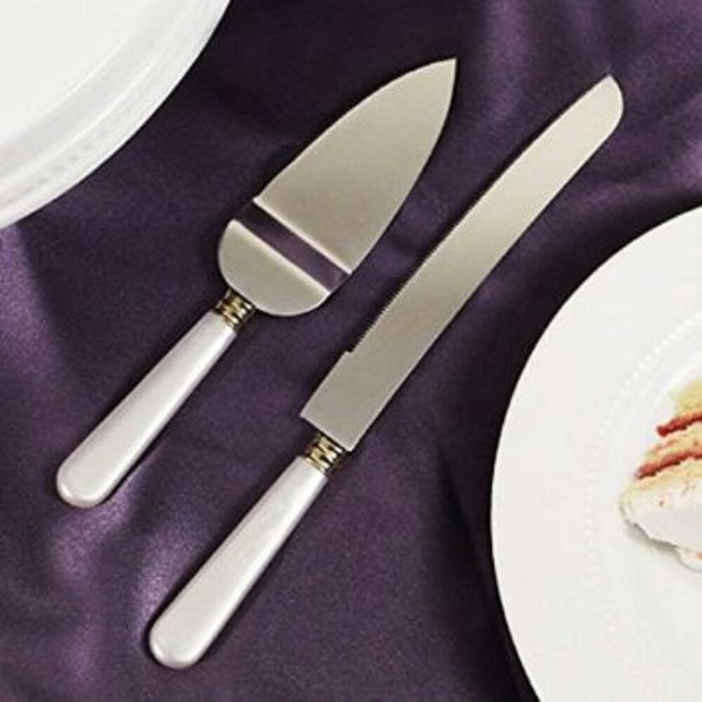 personalised wedding cake knife and server uk white of pearl like handle wedding cake knife 18236