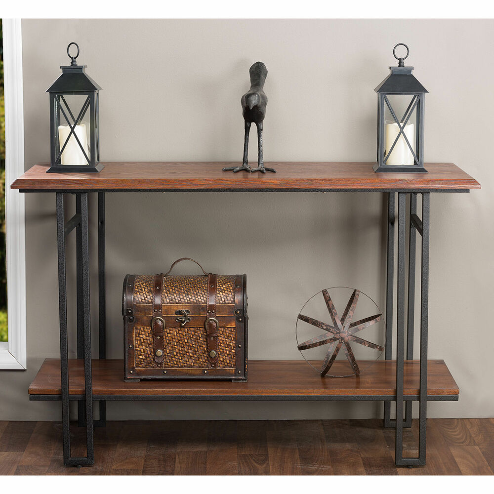 Newcastle wood and metal console table furniture living for Metal living room chairs