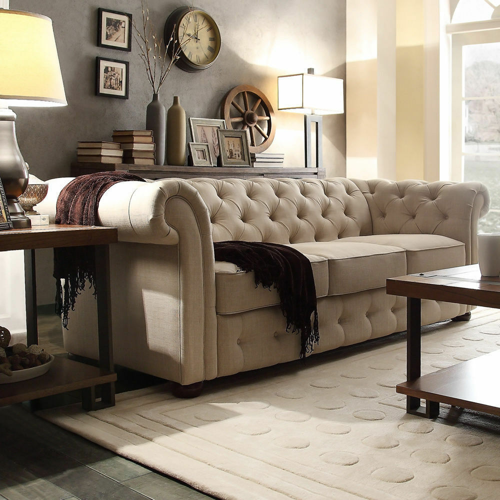 Tribecca home knightsbridge beige linen tufted scroll arm for Beiges sofa welche wandfarbe