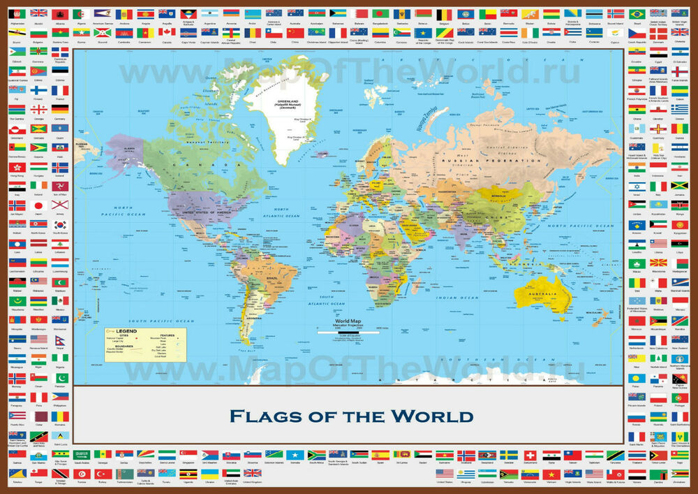 World Map With Country Flags Giant Poster Art Print A0