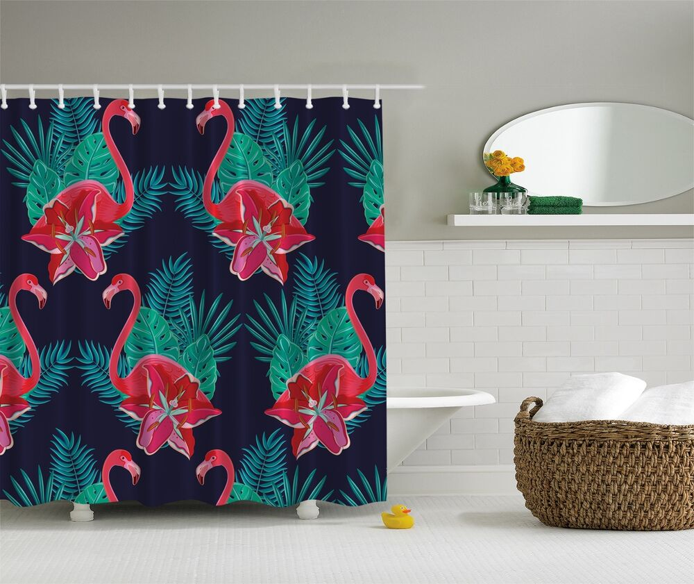 Pink Green Blue Flamingo Tropical Fabric Shower Curtain