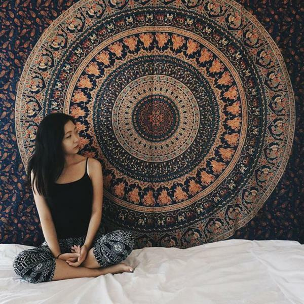 indian hippie tapestry wall hanging elephant mandala bedspread ethnic throw art ebay. Black Bedroom Furniture Sets. Home Design Ideas