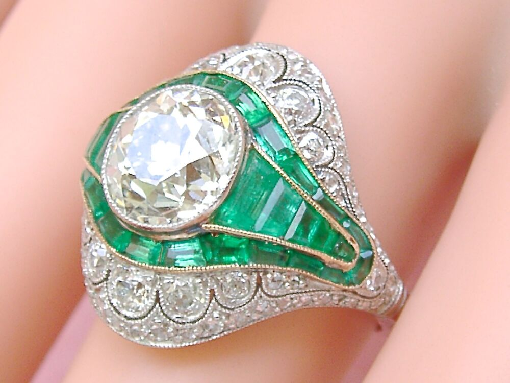 Estate Art Deco 3ct Mine Diamond 1 7ctw Emerald Platinum